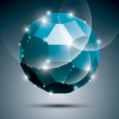 Dimensional blue sparkling disco ball. Vector abstract gala illu