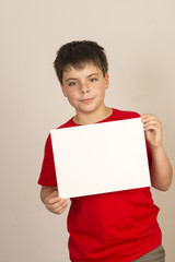 Young boy with sign