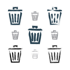 Set of hand-painted simple vector trash can icons isolated on wh