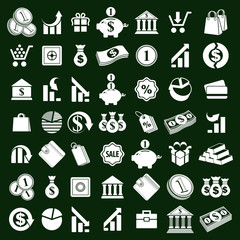 Money icons vector set, finance theme simplistic symbols vector