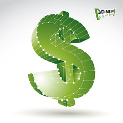 3d mesh stylish web green dollar sign isolated on white backgrou