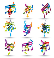 Bright expressive jolly musical notes and symbols isolated on wh