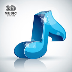 Blue musical note 3d modern icon isolated.