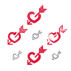 Set of hand-drawn red love heart icons, collection of brush draw