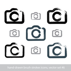 Set of realistic ink hand-drawn stroke vector digital camera ico