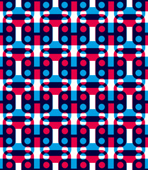 Polka dot seamless pattern with geometric figures, colorful infi