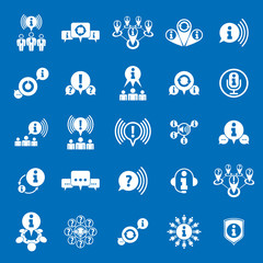 Information analyzing collecting and exchange theme icon set, an