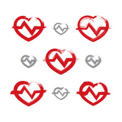 Set of hand-drawn red heart icons, collection of brush drawing h