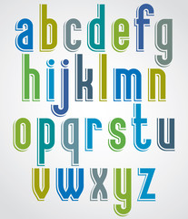 Colorful animated font, comic lower case letters with white outl