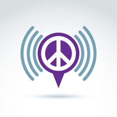 Vector speech bubble with peace symbol from 60th. Podcast sign o
