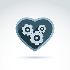 Vector illustration of a mechanical heart. Love machine icon. Ge