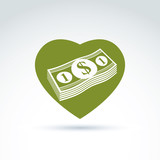 Love money success, greed, crediting and depositing, wealth and poster