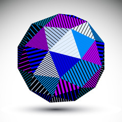 Bright abstract 3D rounded vector contrast figure constructed fr