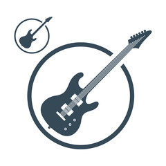 Electric guitar music icons isolated.