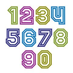 Colorful regular stripy numeration, modern vector poster numbers