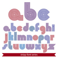 Elegant unusual striped typescript, colorful lined round letters