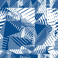 Blue geometric tiles seamless pattern, single color vector mosai