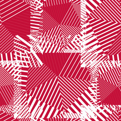 Abstract red lines seamless pattern. Vector psychedelic wallpape