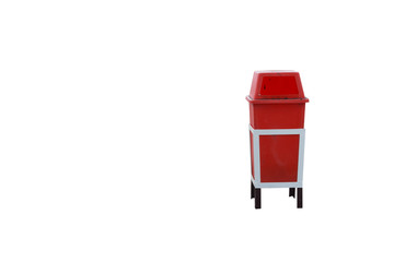 Bin red on white background.