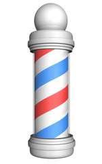 Old-fashioned barber pole with red, white, and blue stripes