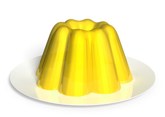 Sour lemon pudding dessert rendered in 3D