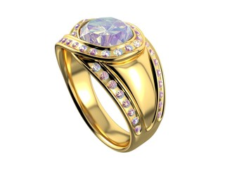 Golden Ring with Diamond. 3D isolated