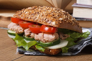 school lunch: a sandwich with tuna and vegetables horizontal