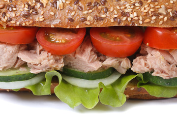 sandwich with tuna and vegetables macro isolated