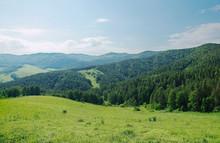 Piękne letnich krajobraz z alpejskich zielonych zalesionych górach