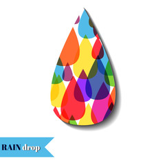 Colourful drops of water on the white background