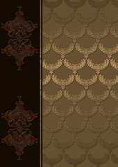 Vintage background with golden patterns.