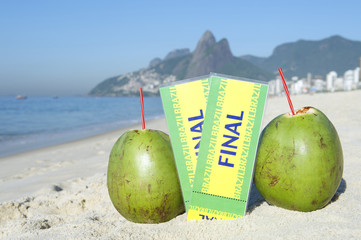 Brazil Final Tickets Coconuts Ipanema Beach Rio