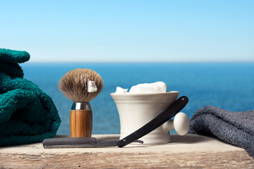 shaving Equipment on wood in Landscape
