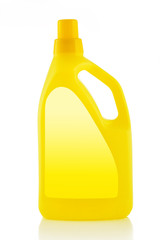 Yellow Plastic detergent bottle isolated on white