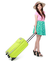 Happy young woman ready to go on vacation