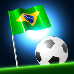 soccer ball 2014 with brazil flag, vector illustration