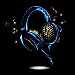 Blue headphones with Music. Vector illustration.