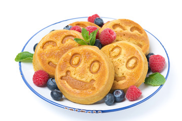 corn pancake with fresh berries, isolated