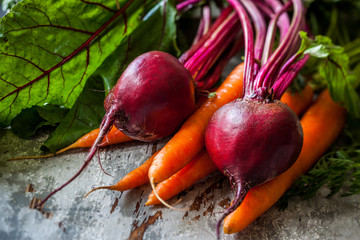 fresh carrot and beetroot