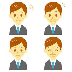 スーツの男性 表情 驚き、笑顔、怒り、弱る