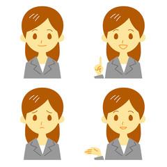 スーツの女性 表情 おすすめ、案内、笑顔、困惑