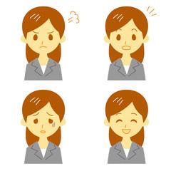 スーツの女性 表情 驚き、笑顔、怒り、弱る