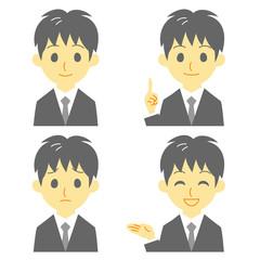 スーツの男性 表情 おすすめ、案内、笑顔、困惑