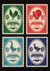 set of vector postage stamps with rooster, turkey, goose, duck
