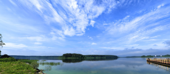 panorama of the lake with clouds