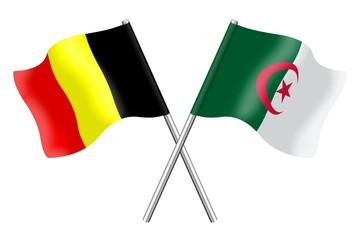 Drapeaux : Belgique et Algérie