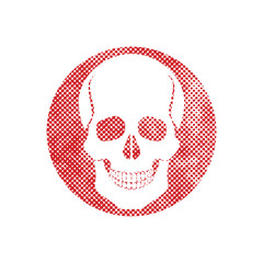 Skull vector icon with pixel print halftone dots texture.
