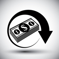 Dollars cash money stack vector simple single color icon.