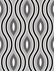 Vector undulate geometric monochrome seamless pattern.