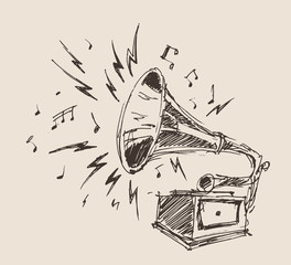 Phonograph - vintage engraved illustration, retro style